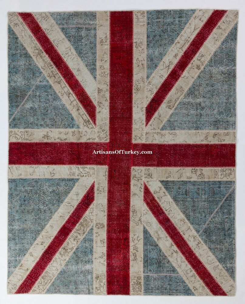 UNION JACK British Flag Design PATCHWORK Rug, Overdyed