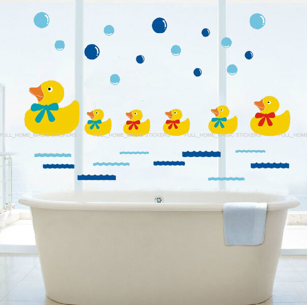 Bathroom Wall Decor Stickers : Rubber duck family bubbles wall stickers bathroom tile