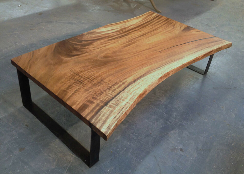 Reclaimed monkeypod coffee table steel legs raw edge ebay