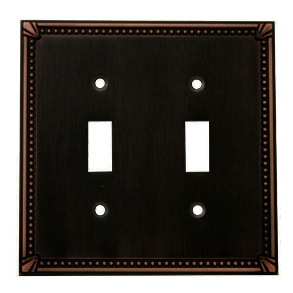 Oil rubbed bronze double toggle decorative wall switchplate cover 44031 orb ebay - Wall switch plates decorative ...
