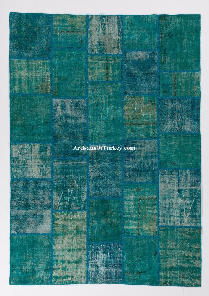Turquoise Aqua Blue Color Patchwork Rug Handmade From
