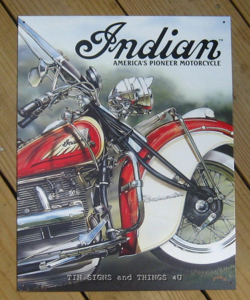 indian motorcycle tin sign america pioneer classic vtg bike metal wall decor 785 ebay. Black Bedroom Furniture Sets. Home Design Ideas