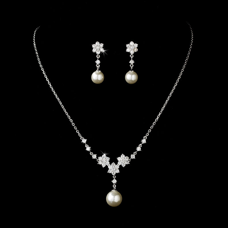 Ivory Color Pearls Diamante Jewellery Necklace Set