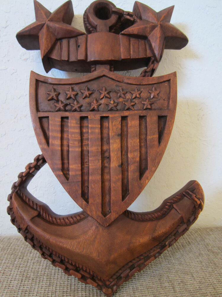 U s navy hand relief carved large wood plaque ebay