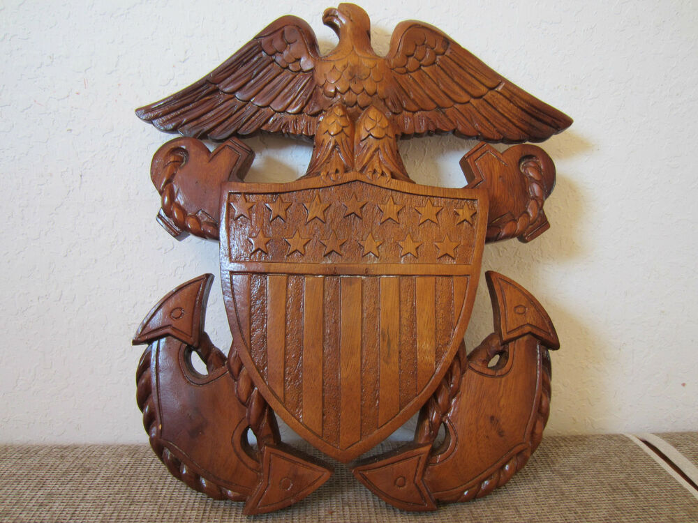 U s navy carved wood quot american eagle plaque ebay