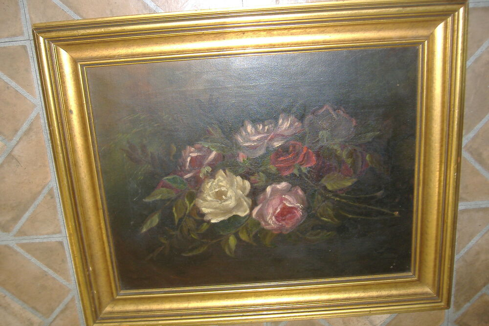 Old Painting Roses Flowers Rare Unsigned Gold Frame 1800s