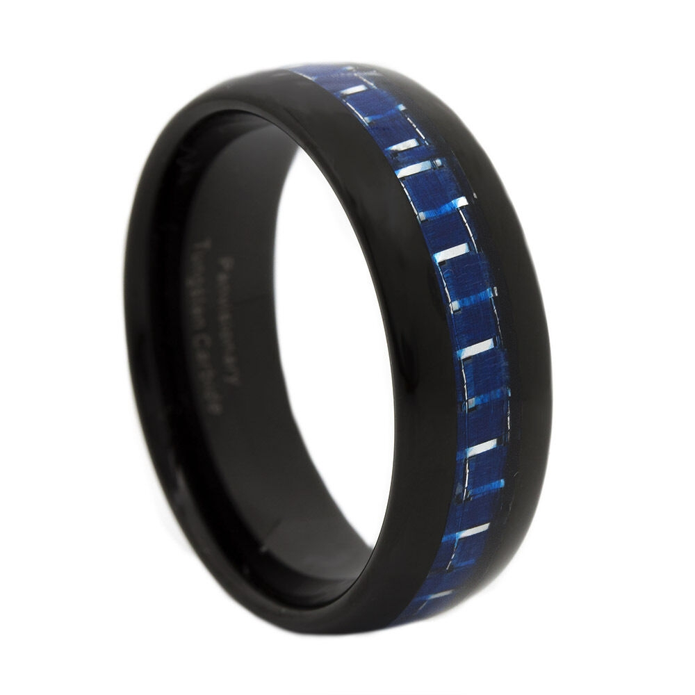 thin blue line ring black blue tungsten carbide 8mm dome