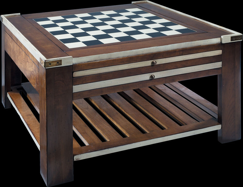 Wooden Multi Game Table Ivory Authentic Models Chess Checkers Dice ...