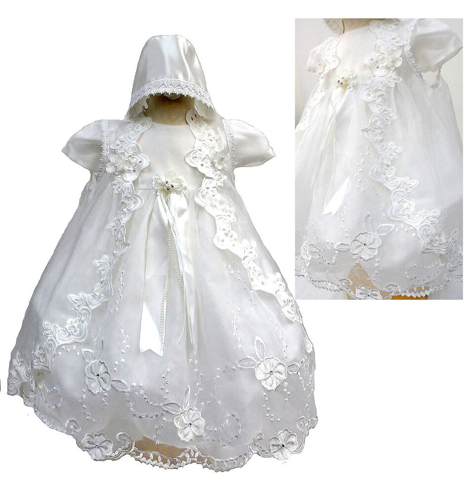 Baby infant toddler girl christining baptism dress gown for Making baptism dress from wedding gown