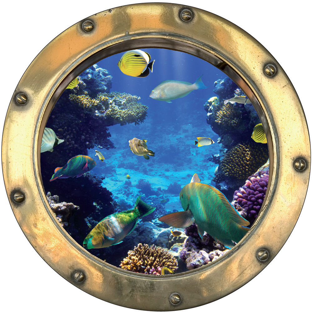 sticker trompe l 39 oeil d co poissons tropicaux r f hublot 1112 ebay. Black Bedroom Furniture Sets. Home Design Ideas