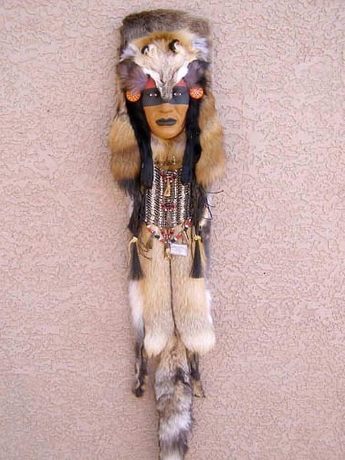 Native Assiniboine Indian Walking Wolf Ceremonial Mask By