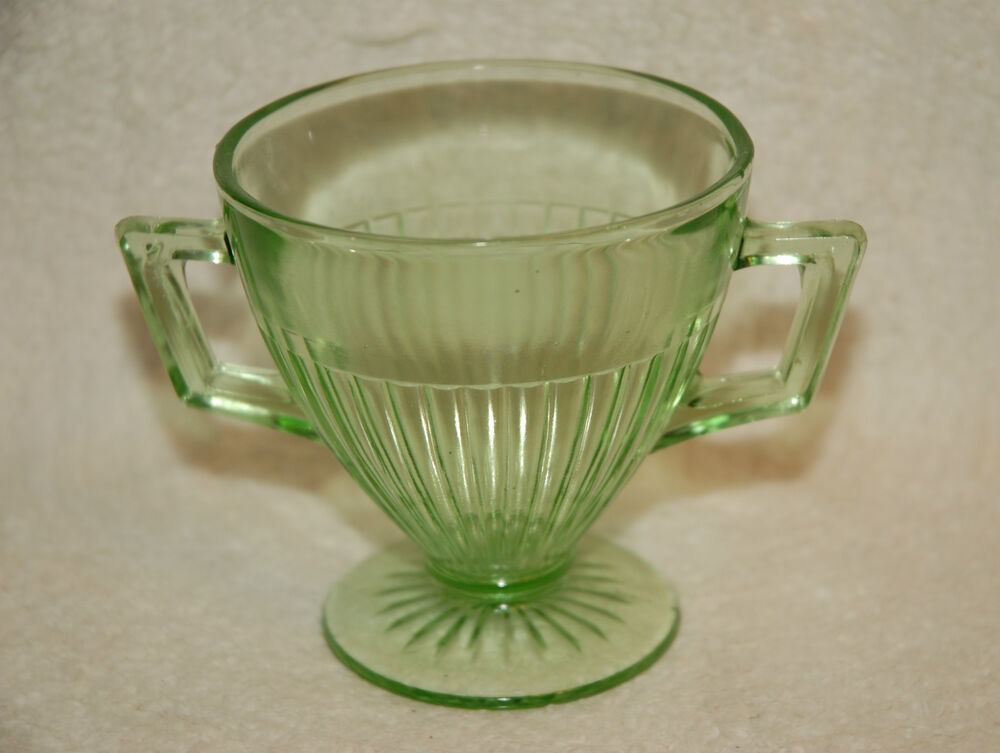 VINTAGE DEPRESSION GREEN GLASS OPEN PEDESTAL SUGAR BOWL ...