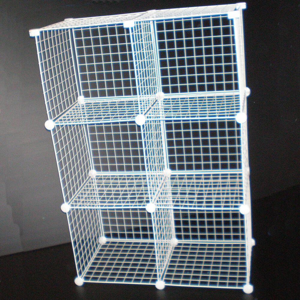 White Wire Mesh Cube Modular Storage Unit Universal Fit
