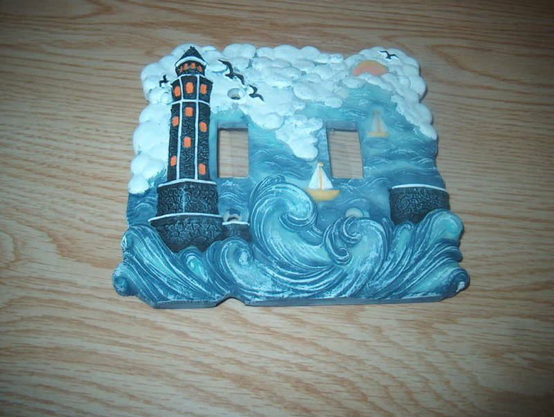 Lighthouse double switch cover hand painted new ebay for Lighthouse switch plates