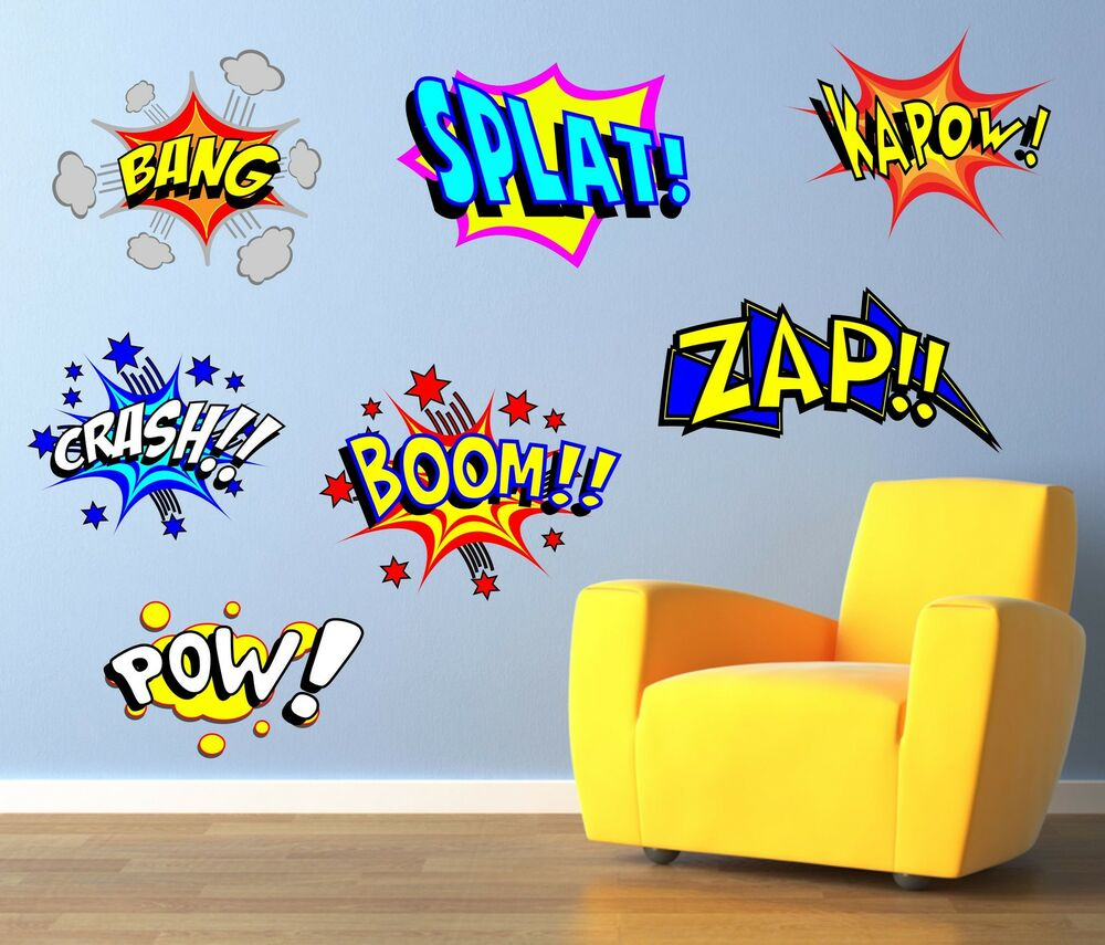 Cool comic pop art wall art sticker decal graphic decal for Pop wall art
