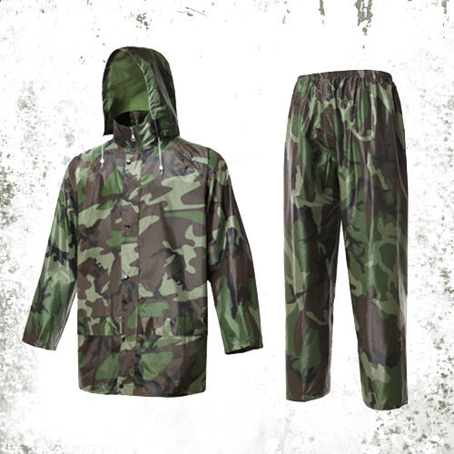 New mens waterproof military camo rain suit hooded jacket for Mens fishing rain gear