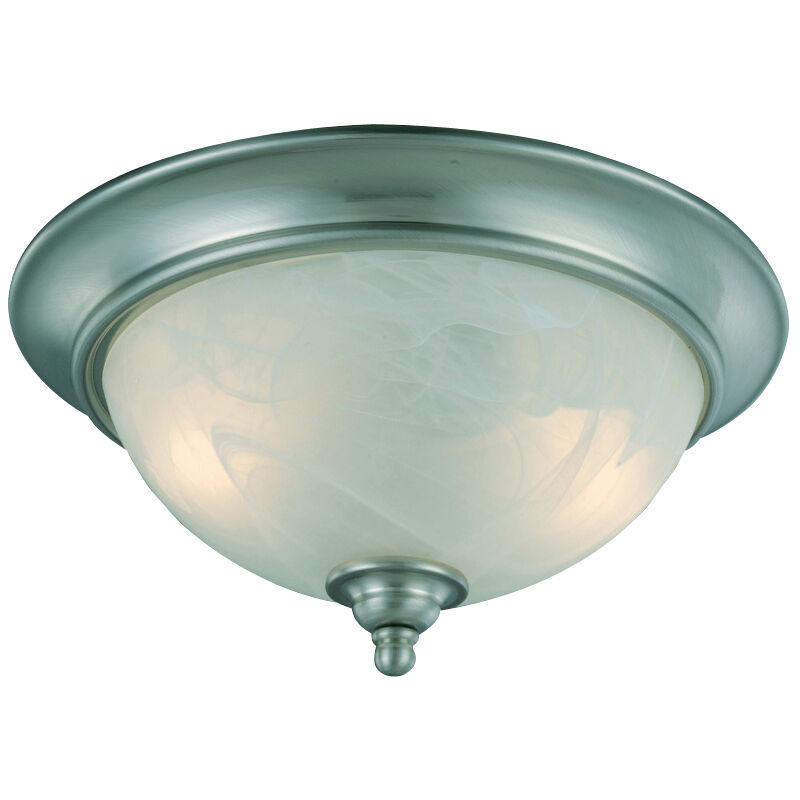Satin nickel 2 light flush mount ceiling light fixture - Flush mount bathroom ceiling lights ...