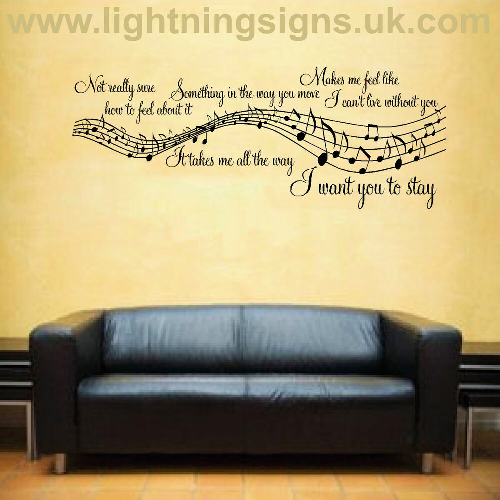 Wall Art Stickers Song Lyrics : Rihanna stay music song lyrics notes quote sticker wall