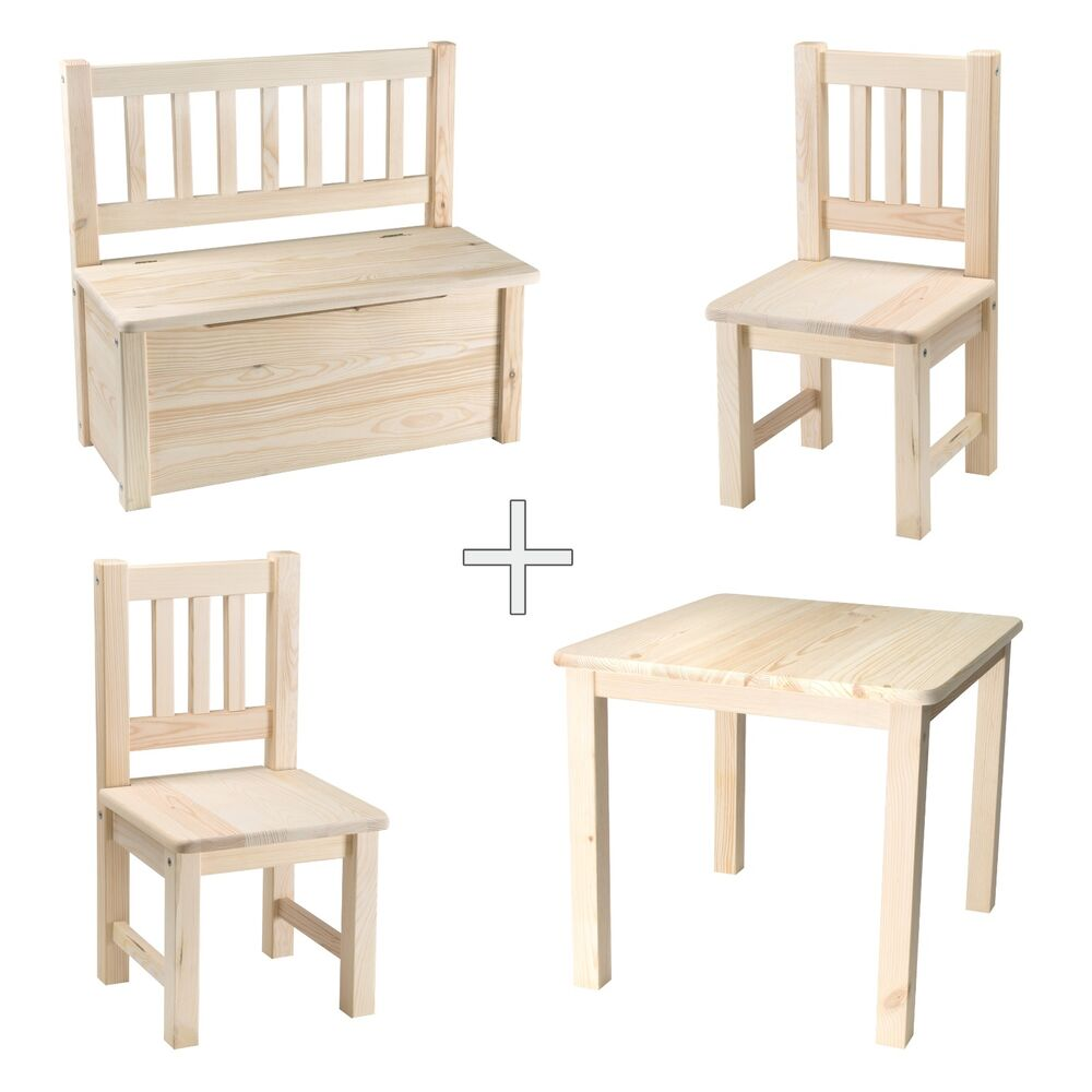 kindersitzgruppe kindertisch mit st hlen kindersitzbank kindersitztruhe holz ebay. Black Bedroom Furniture Sets. Home Design Ideas