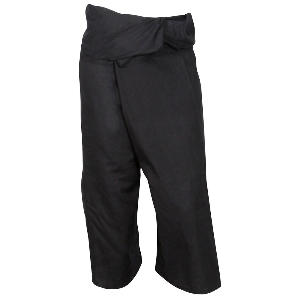 Black Thai Fisherman Trousers Pants Cotton Massage Yoga