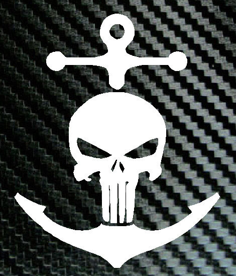 ANCHOR Punisher Skull Navy Sailor Car Truck Laptop Boat Decal - Vinyl stickers for boats