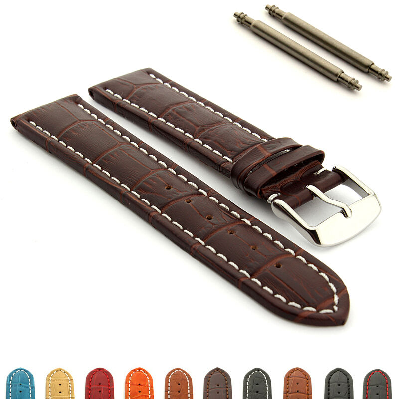 Men 39 s two piece genuine leather watch strap band croco rm ss buckle spring bars ebay for Men gradient leather strap