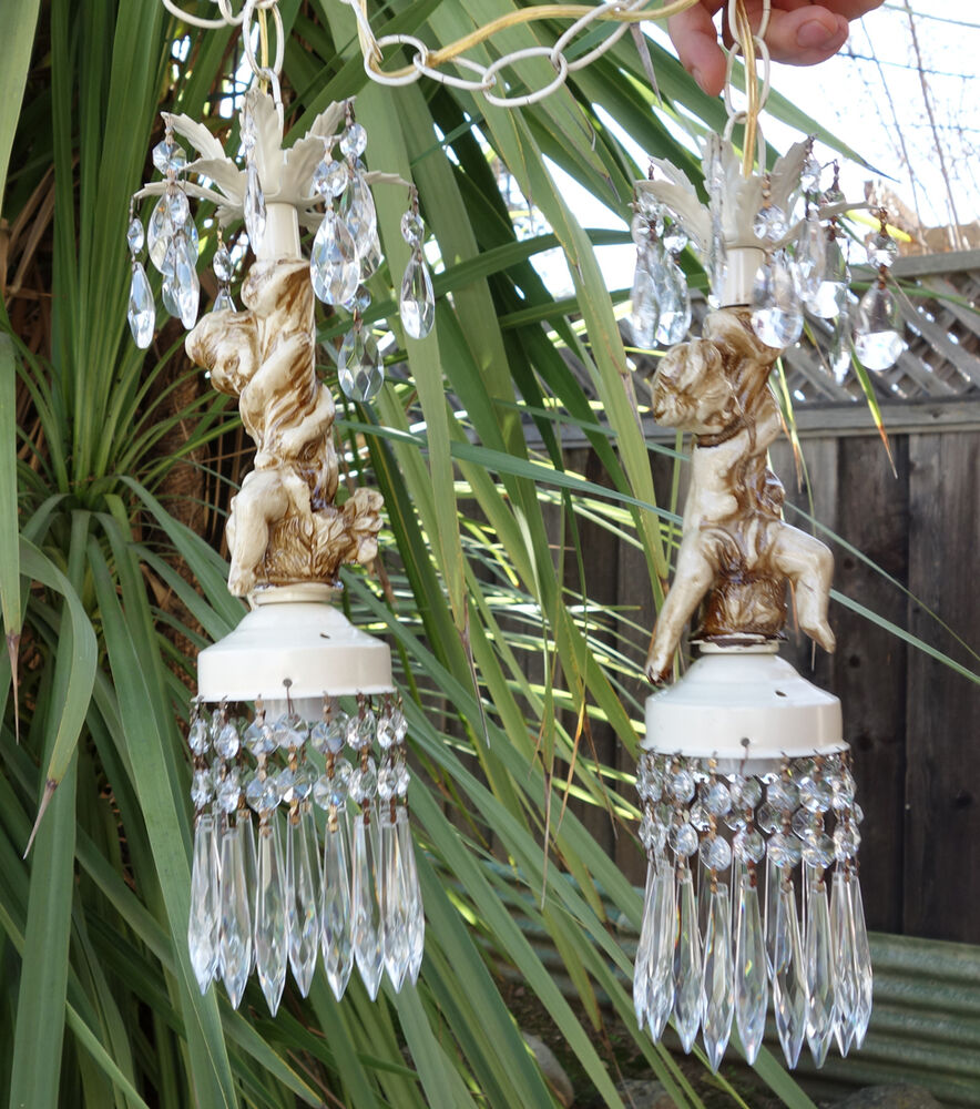Shabby Cherub Ceiling Double Swag Lamp Chandelier French