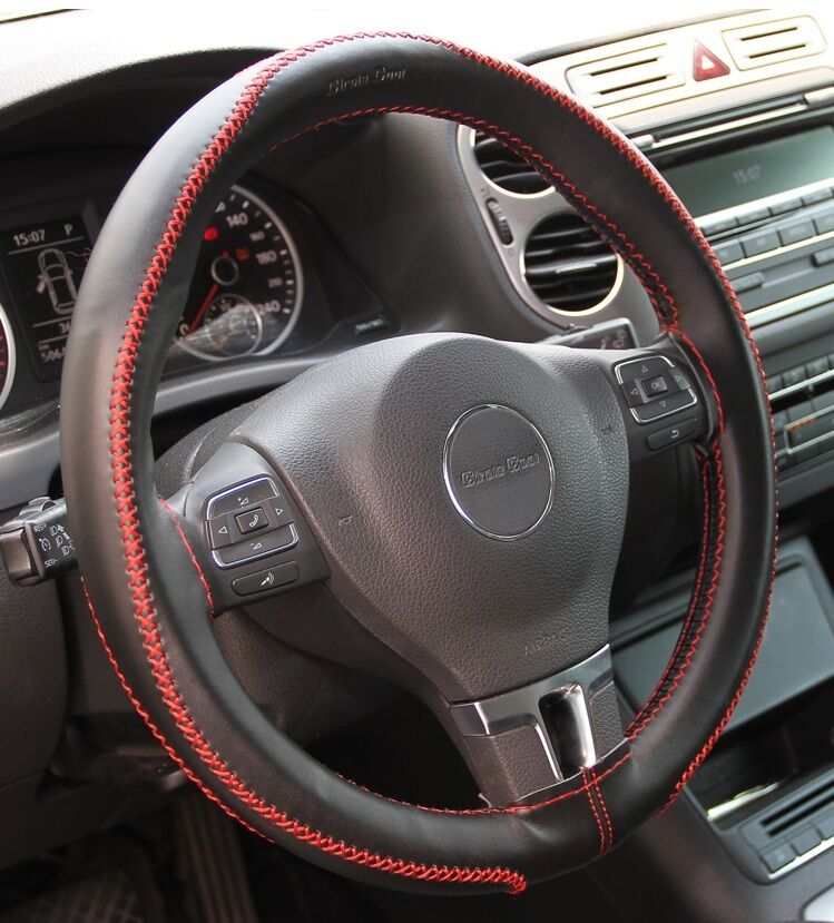Black Pvc Leather Steering Wheel Red Stitch Wrap Cover Needle Thread Diy Chevy Ebay
