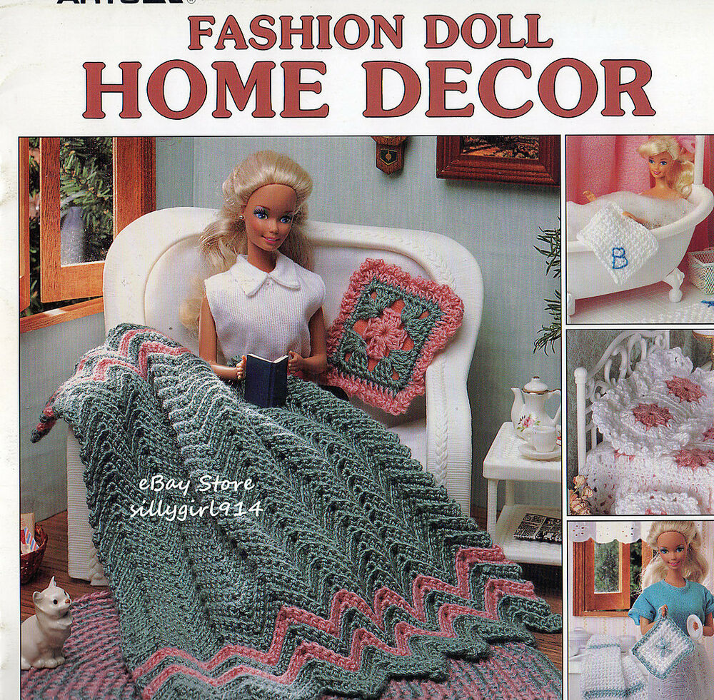 Home Decor Crochet Pattern Book Only Fits Barbie Fashion Doll See Pictures Ebay