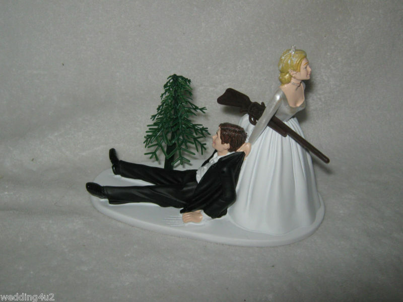 bride dragging groom wedding cake toppers wedding reception gun cake topper 12132