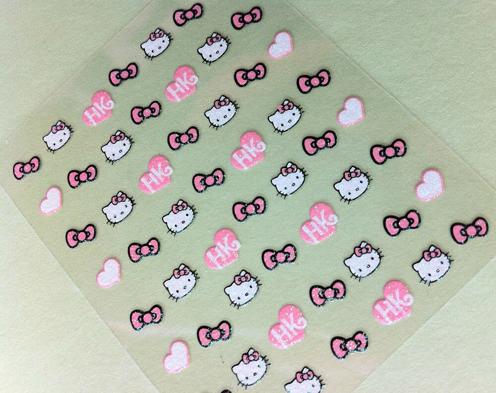 Nail Art 3D Sticker Glitter Decal Hello Kitty 54 pcs ON