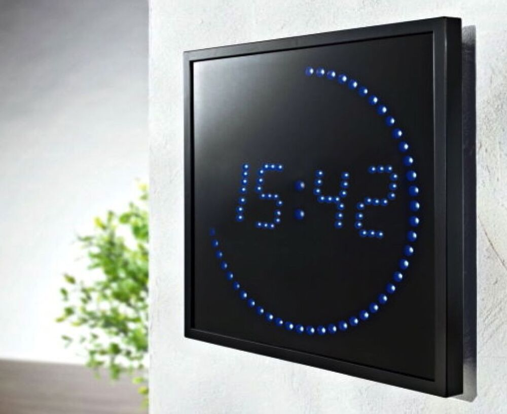 led uhr xxl digitale anzeige blaue led s digitaluhr wanduhr 28x28 cm neu ebay. Black Bedroom Furniture Sets. Home Design Ideas