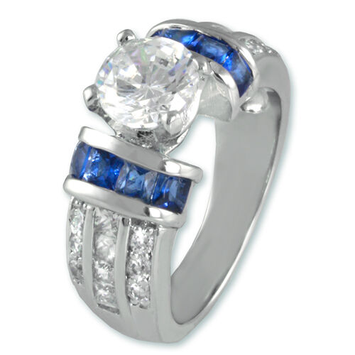 cubic zirconia wedding rings that look real the look of real 3ct bridal clear amp sapphire cubic 3221