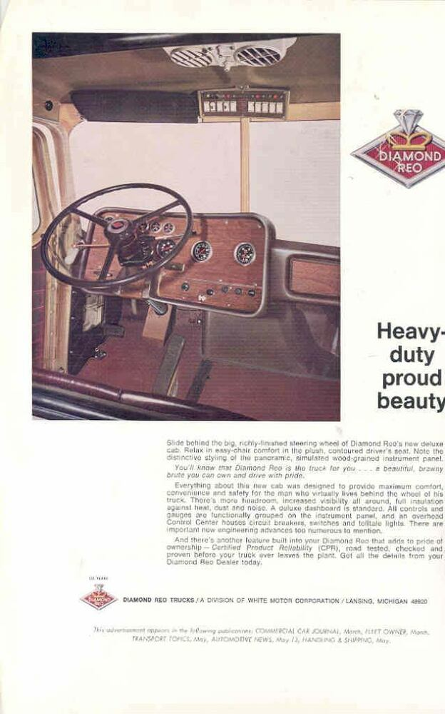 1970 diamond reo truck interior sales brochure wi6631