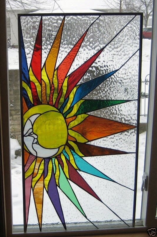 Sun And Moon Stained Glass Window Panel Ebsq Ebay