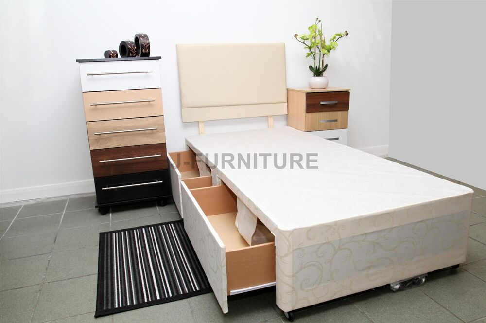 2ft6 3ft divan bed base with no mattress storage drawers for Divan bed base and headboard