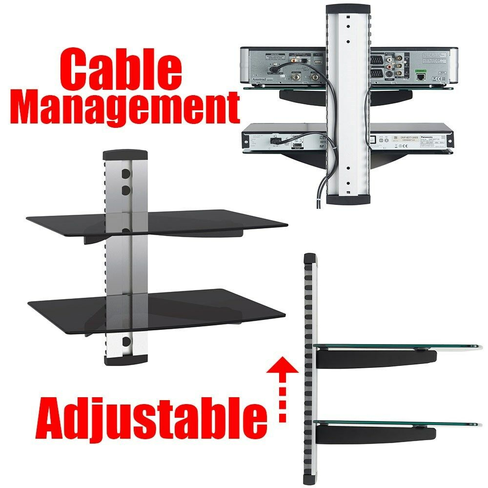 2 tier adjustable component wall mount shelf glass Wall mounted shelf systems