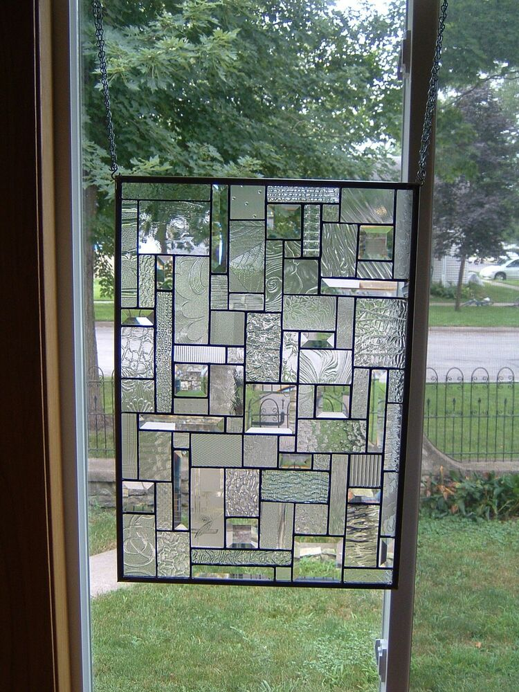 Ice clear stained glass window panel transom ebay for Transom windows