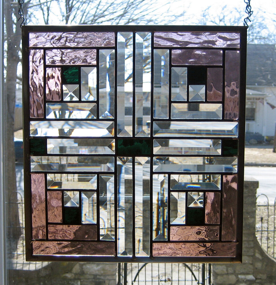 Log Cabin Stained Glass Window Panel Ebsq Artist Ebay