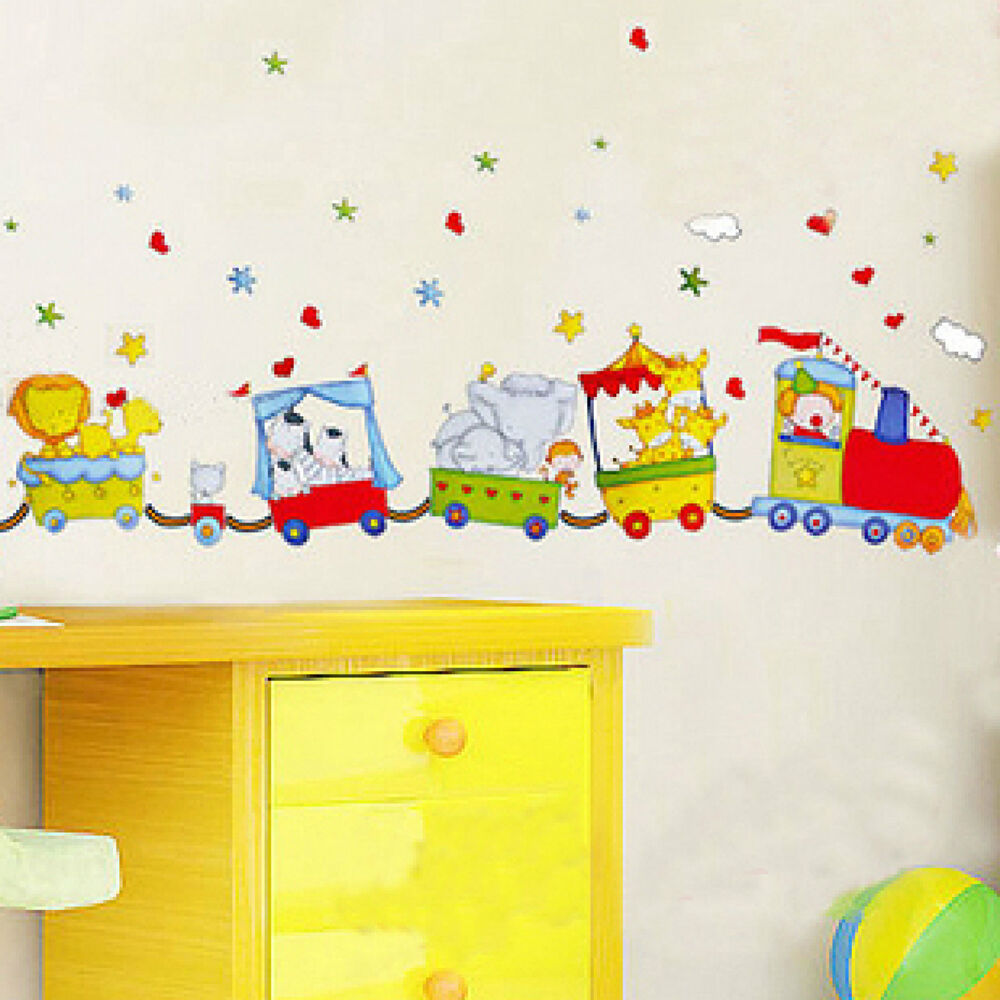 Cartoon Animal Circus Train Removable Wall Sticker Home