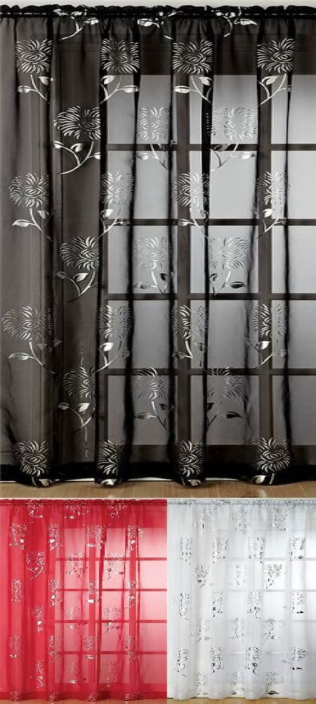 Modern Floral Voile Curtain Panel Chrissy Slot Top Use On