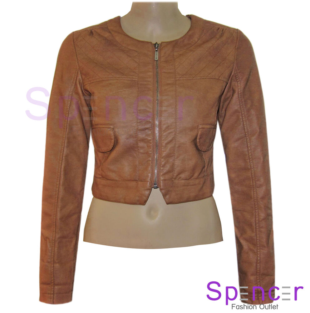 New Ladies Quilted Cropped Bomber Pvc Faux Leather Jacket Coat Womens Biker 8 14 Ebay