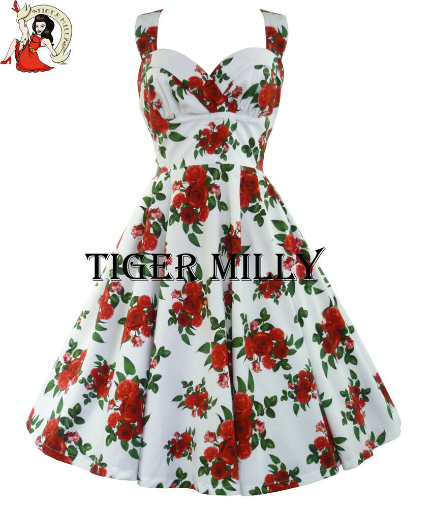 HELL BUNNY 50's CANNES red ROSE floral prom DRESS summer ...