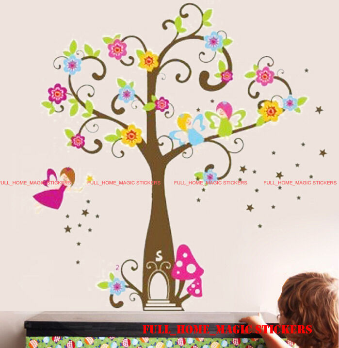 X Large Fairy Tree Flowers Wall Stickers Art Decal Girls