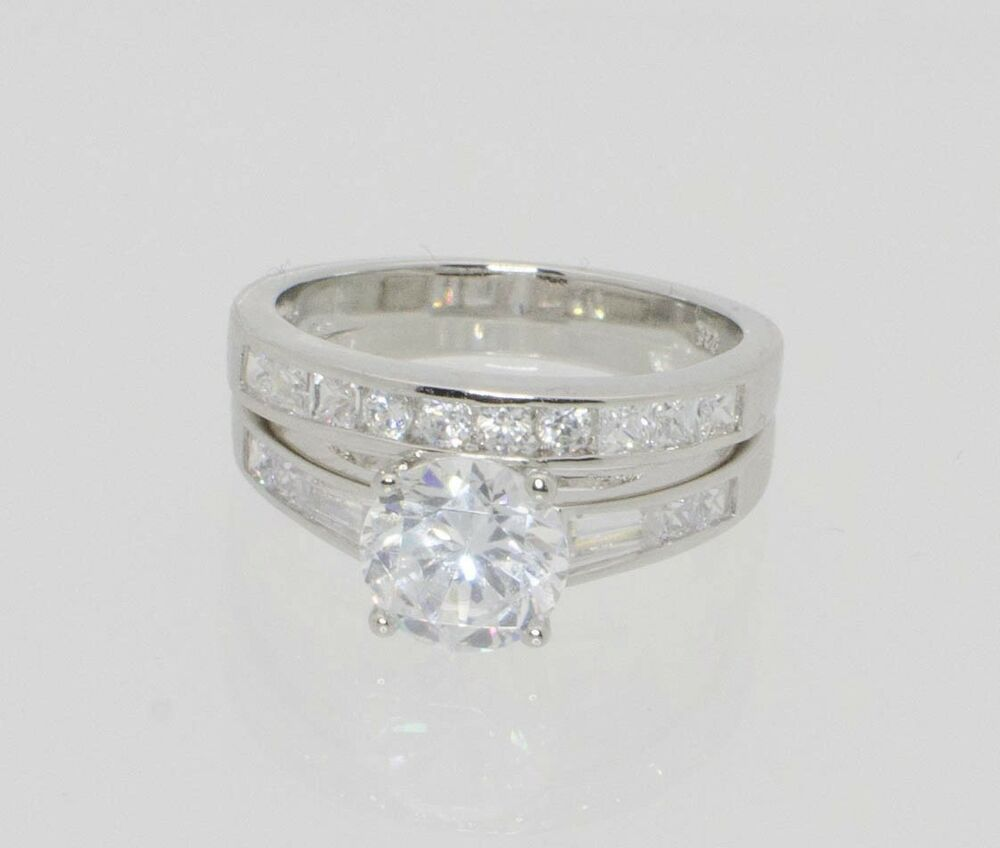 sterling silver engagement ring wedding band cubic zirconia cz ss w