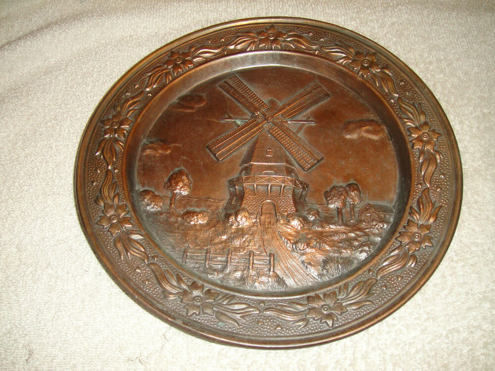 vintage windmill brass metal decorative wall plate heavy plate etched metal ebay. Black Bedroom Furniture Sets. Home Design Ideas
