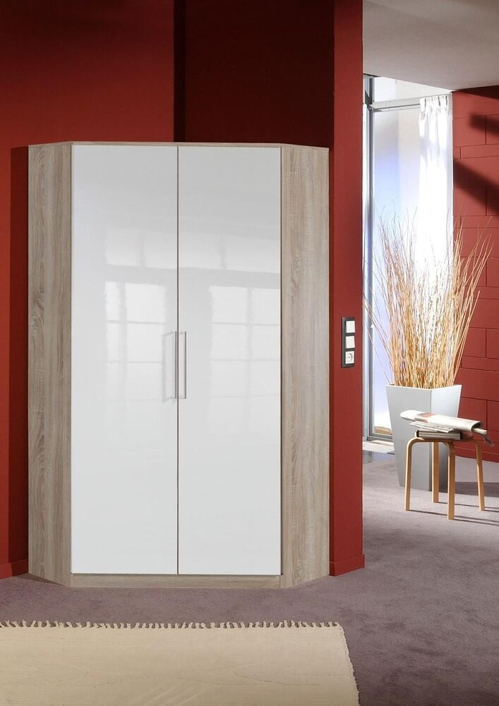 German 2 Door White Gloss Amp Oak Corner Wardrobe With