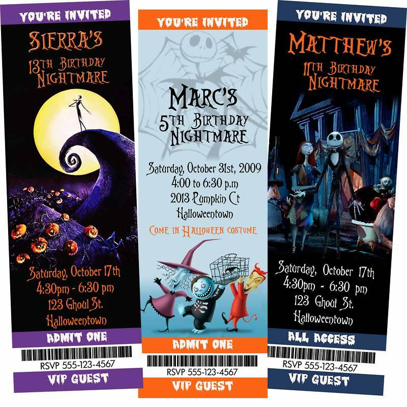 Nightmare Before Christmas Birthday Party: Halloween Invitation 12 The Nightmare Before Christmas
