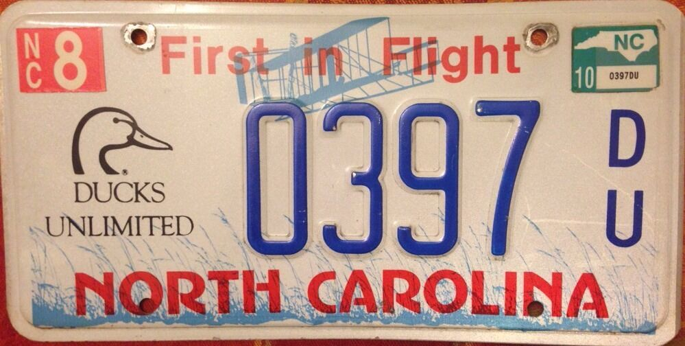 North carolina ducks unlimited license plate duck bird for Nc fishing license cost