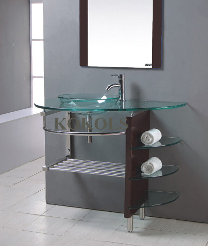 modern Bathroom Glass bowl clear vessel Sink & wood Vanity w shelfs ...